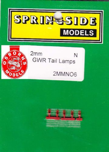 Springside N6- N Scale  GWR Tail Lamps Red (5)